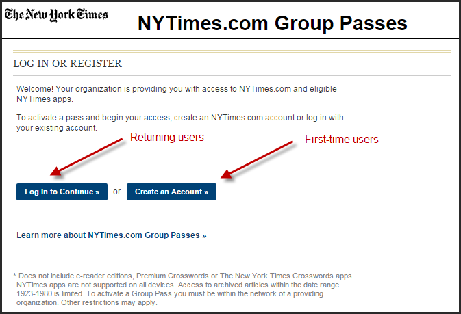 New York Times group pass page